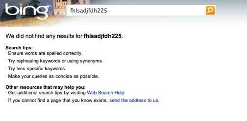Bing Keywords Meta Tag Test Results