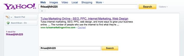 Yahoo Keywords Meta Tag Test Results