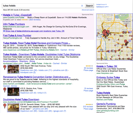 Google Places in Organic Results