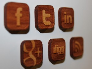 Social Media Icons Engraved in Wood