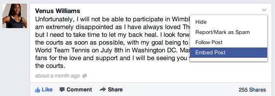 A Facebook post from Venus Williams