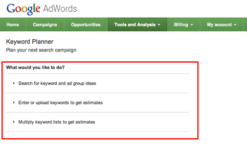 Keyword Planner Screenshot