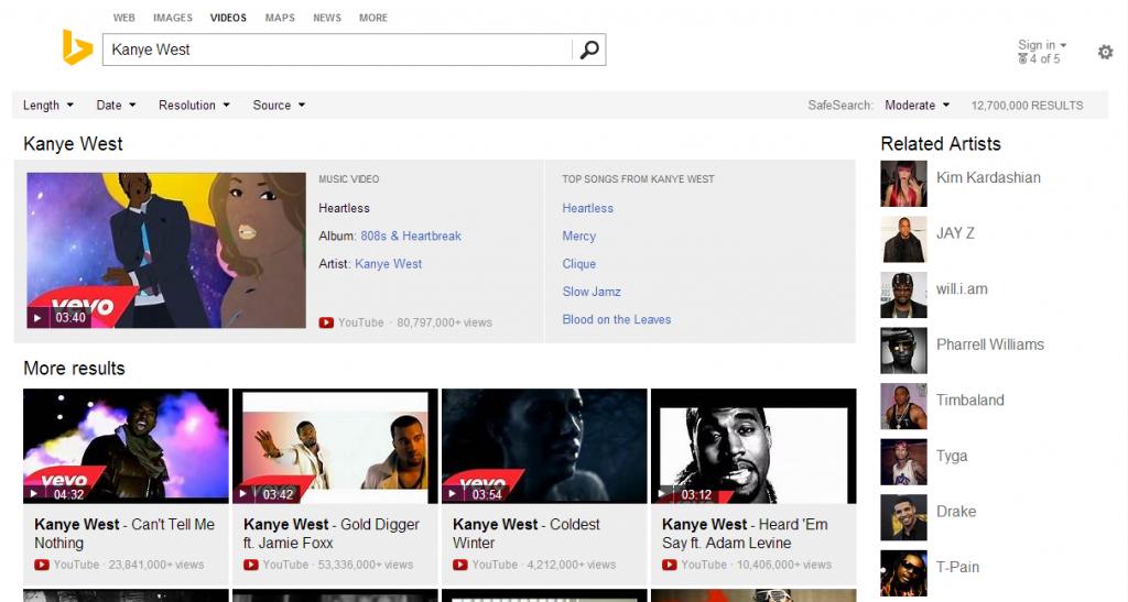 Bing Videos Screenshot