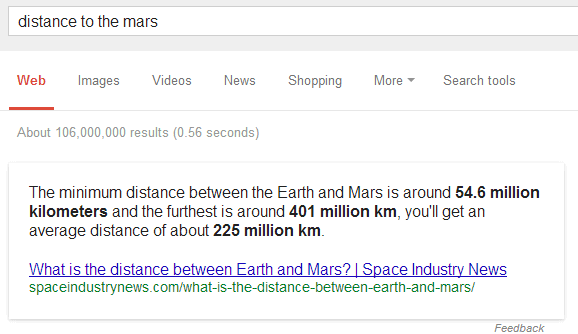google-direct-answer-distance-to-mars