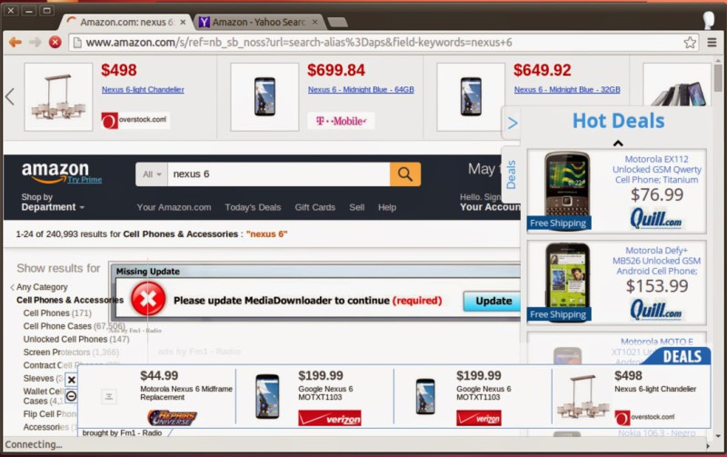 Examples of injected ads 'in the wild'