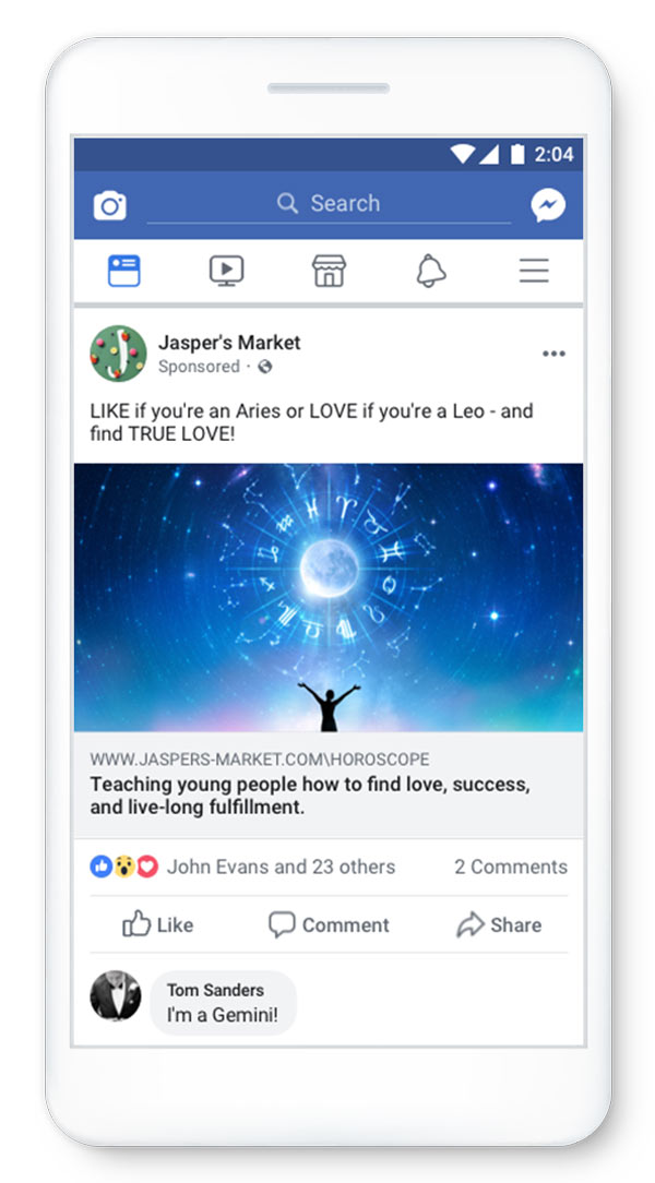 Facebook Bad Ads - Engagement Bait