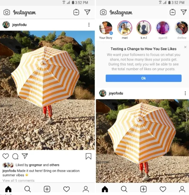 Instagram Likes Disappear From View