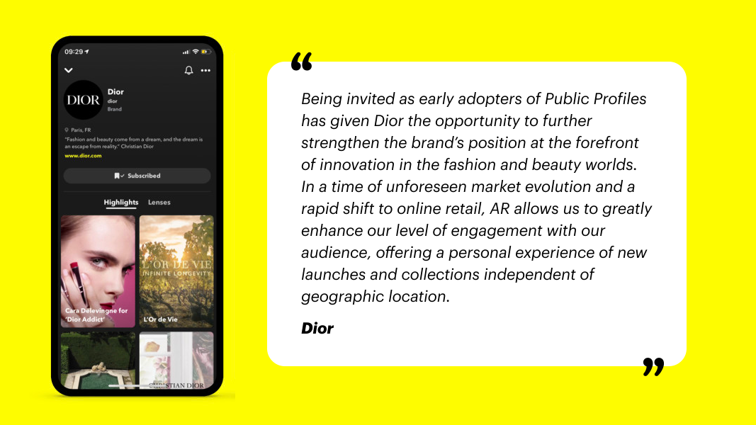 Snapchat Public Profiles For Business - Dior