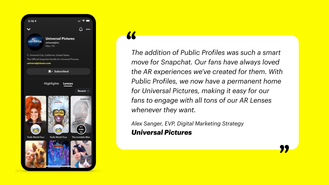 Snapchat Public Profiles For Business - Universal Pictures
